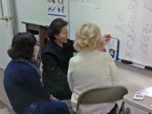 ESOL students and teacher
