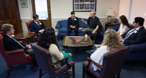 Bishop Gulick meets with youth and adults just before the service